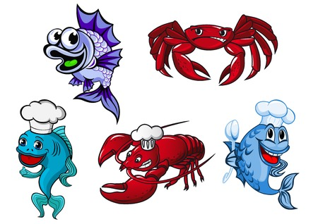 Seafood cartoon characters including funny blue fishes and red crayfish in chef hats and angry crab for childish or seafood food menu design