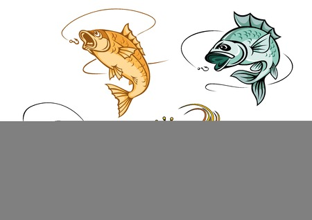 Cartoon fishes catching hooks and bright goldfish in crown with wavy lush tail and fins suited for luck concept or fishing emblem design Vector