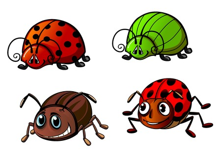 Colorful funny bugs cartoon characters showing red spotted ladybugs, bright green glowworm and colorado potato beetle for childish decor or mascot design