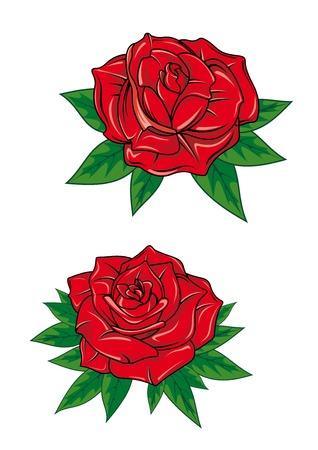 エレガントな新鮮な花びらとグリーティング カード ot ロマンティックなデザインの白い背景で隔離の漫画スタイルの緑の先のとがった葉と赤いバラ  イラスト・ベクター素材