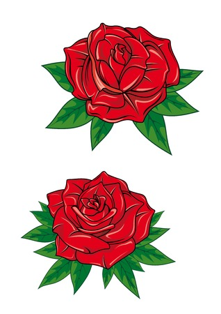 Red roses with elegant fresh petals and green pointed leaves in cartoon style isolated on white background for greeting card ot romantic design Illustration