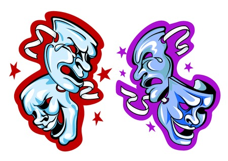 comedy disguise: Comedy and tragedy theatre masks with ribbons in cartoon style on red and violet backgrounds decorated stars for art design Illustration