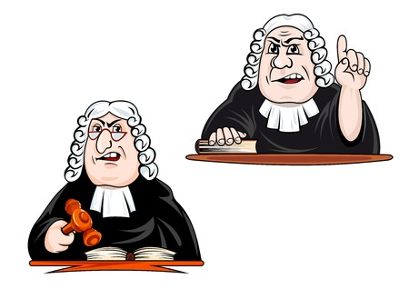 Severi personaggi giudice cartoni animati in parrucca, occhiali e mantello martelletto detenzione e punta verso l'alto per la legge e il concetto di giustizia di design