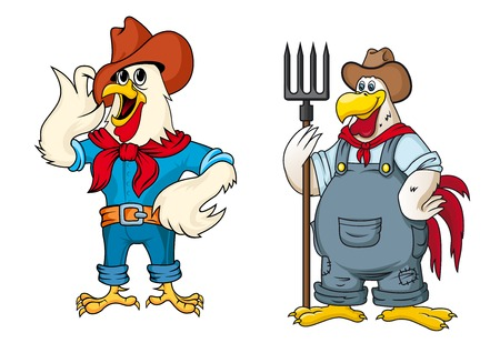 Farmer rooster cartoon characters depicting white cocks in hats, red scarves and overalls with pitchfork suitable for childish decor or agriculture design