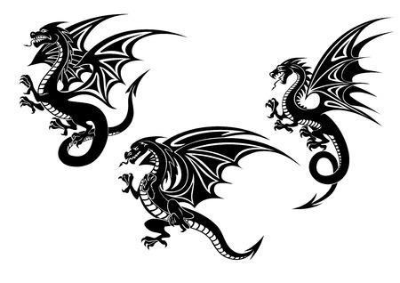dragones: Dragones voladores negros con alas talladas en estilo tribal aislados sobre fondo blanco para tatuaje o mascota de diseño