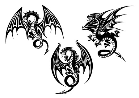 Silhouettes of black dragon with outstretched wings and curved tail suitable for totem or tattoo design