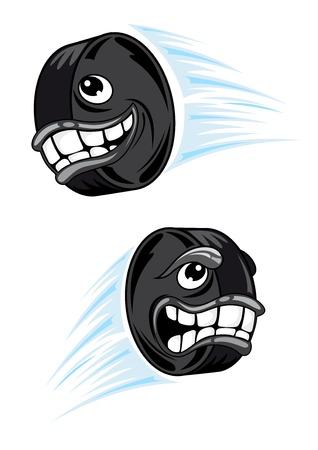 Cartoon flying hockey puck characters with toothy smiling face and angry grin for sporting mascot design