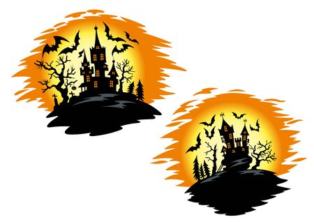 Halloween horror castles in front of glowing orange full moon with silhouettes of flying bats and trees for halloween party invitation template or decoration design