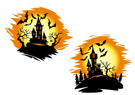 Silhouettes of old castle, flying bats, trees and cemetery with orange moon on the background for halloween decoration or party invitation design