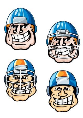 アメリカン フットボール プレーヤーの漫画のキャラクター、スポーツ チームのマスコットやエンブレムのデザインの保護マスクとヘルメットを均  イラスト・ベクター素材