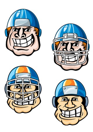 burly: American football player cartoon characters showing heads of burly men in uniform helmets with protective masks for sporting team mascot or emblem design