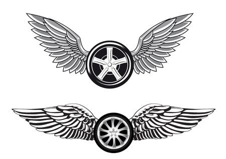 Wheels with outstretched wings isolated on white background for tattoo or racing club emblem design