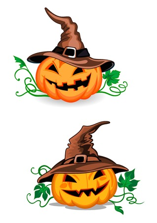 Cute pumpkin halloween lanterns with witch hats in cartoon style showing orange squash vegetable with carved smiling face, curly vine and leaves for halloween decor design Illustration