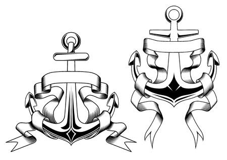 ancla: Anclas náuticas retro con pancartas en blanco o cintas en el estilo de dibujo contorno adecuadas para insignia, diseño de la plantilla emblema