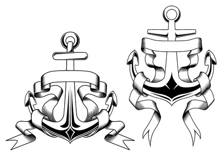 water anchor: Retro nautical anchors with blank banners or ribbons in outline sketch style suitable for badge,  emblem template design
