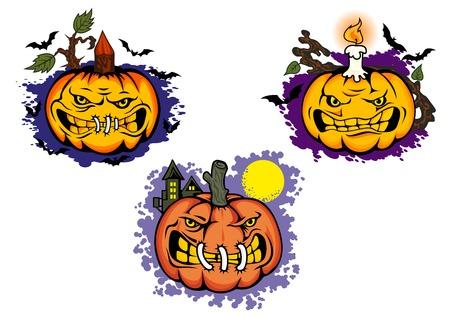 枝、キャンドルと邪悪な顔ハロウィーン カボチャ モンスター漫画のキャラクター囲まれたハロウィーン パーティーの招待状や装飾デザインのため
