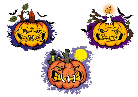 Halloween pumpkin monster cartoon characters with branches, candle and evil faces surrounded flying bats for halloween party invitation or decor design