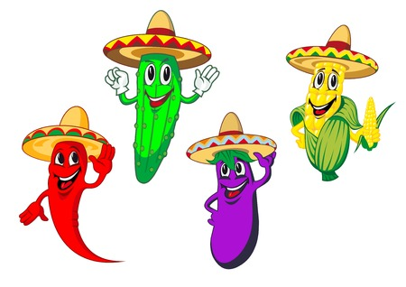Cartoon paprika, komkommer, maïs en aubergine groenten personages in Mexicaanse sombrero met gelukkig lachende gezichten geschikt voor etenswaren of menu design