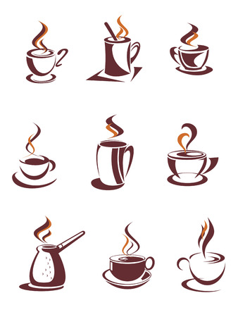 Brown cups and mugs of hot coffee, cappuccino, latte or chocolate with curly steam swirls in outline sketch style suitable for cafe or coffee shop menu design