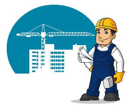 Smiling builder in cartoon style for design of construction buildings