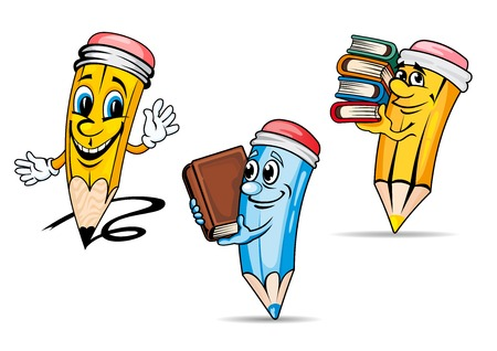 Cheerful yellow and blue pencils cartoon characters with red erasers at the tips and books in the hands suited for education or childish design Vettoriali