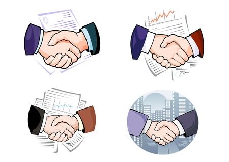 business symbols: Business handshakes against night cityscape and working papers with line graphs and signatures for partnership or agreement concept design