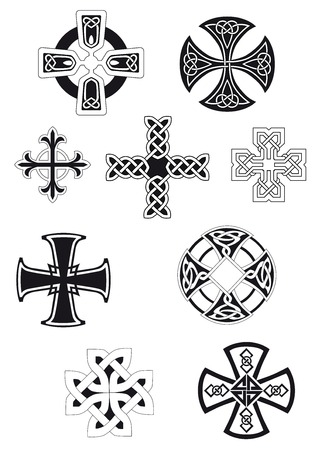 irish symbols: Celtic crosses with traditional ethnic knot ornament isolated on white background for religious or ethnic decoration design Illustration