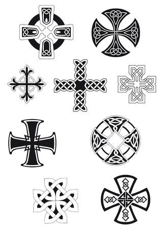 keltische muster: Keltische Kreuze mit traditionellen ethnischen Knoten Ornament auf weißem Hintergrund für religiöse oder ethnische Dekoration Design Illustration