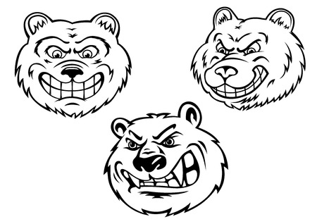 Cartoon growling bear heads in black and white colors isolated on white background for tattoo or totem design