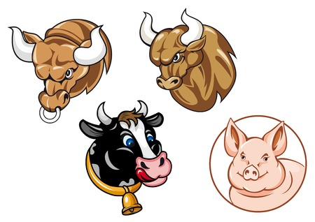Cartooned farm animals heads including angry bulls with big curved horns, funny spotted cow with bell and cute pig in round frame