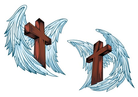 Wooden crosses with blue angel wings isolated on white background suitable for religious or tattoo design
