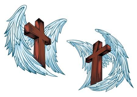 tatouage ange: Les croix de bois avec des ailes d'ange bleu isol� sur fond blanc appropri�s pour la conception religieuse ou d'un tatouage