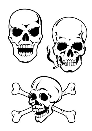 Human skulls with evil grin, crossed bones and fuming cigarette isolated on white background for warnings, prohibition signs or tattoo design Vectores