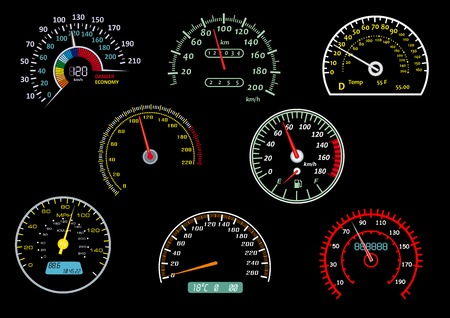 Colorful glowing car speedometers with needles in different positions isolated on black background suitable for racing or transportation design