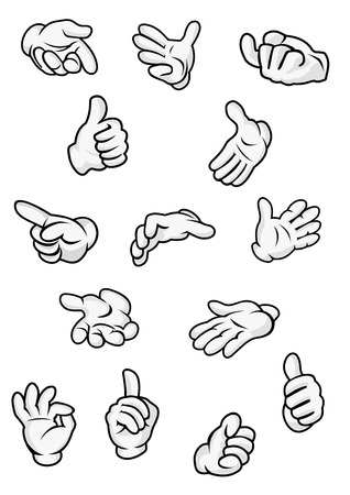 Human hand and fingers signs and gestures showing direction, attention, ok, super etc in cartoon style isolated on white background