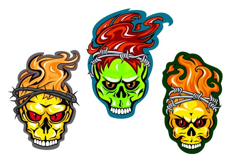 Skulls in wreaths of thorns and barbed wires with bright red and orange flames of fire suitable for tattoo or t-shirt design Vectores