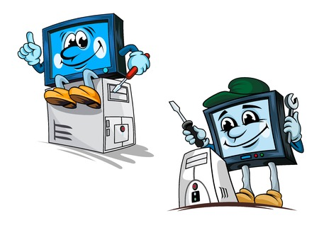computer repair: Smiling computer repairman cartoon characters in cap with wrench and screwdriver fixing processor for technical support or repair service design