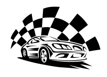 cuadros blanco y negro: Negro silueta de coche de carreras moderno con la bandera a cuadros en el fondo para el deporte del automóvil emblema competencia