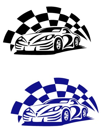 Race car with racing checkered flag in black and blue colour variations in outline sketch style for sporting design Illustration