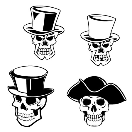 Cartoon skulls in retro top hats and captain pirate hat in black and white colors for halloween decoration decoration or tattoo design
