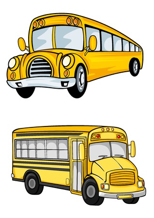 Cartoon yellow school buses with traditional black stripes isolated on white background suitable for school or childish design