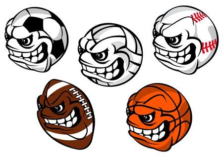 rugby ball: Balones deportivos mascota de la historieta caracteres incluyendo equipos para el fútbol o el fútbol, ??béisbol, voleibol, rugby, baloncesto con rostros sonrientes