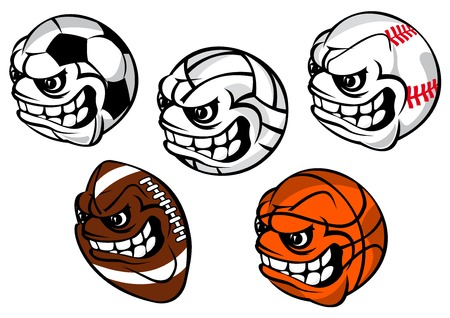 grinning: Cartoon sporting balls mascot characters including equipment for football or soccer, baseball, volleyball, rugby, basketball with grinning faces