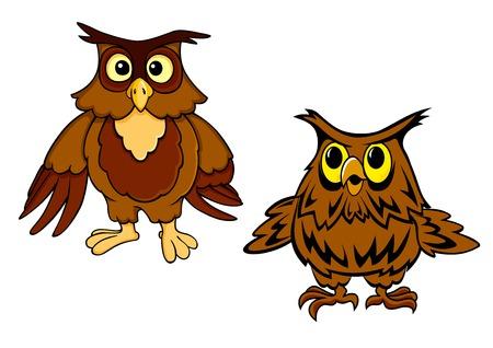 aves caricatura: Personajes de dibujos animados búhos divertidos que muestran aves nocturnas de color marrón con grandes ojos sorprendidos aislados sobre fondo blanco para el diseño o la educación infantil Vectores