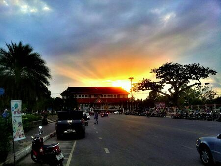 provincial: Sunset at Pattani provincial hall  Stock Photo