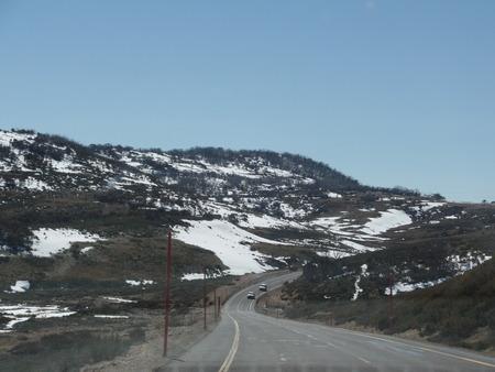 the snowy mountains: Road Trip to Snowy Mountains Stock Photo