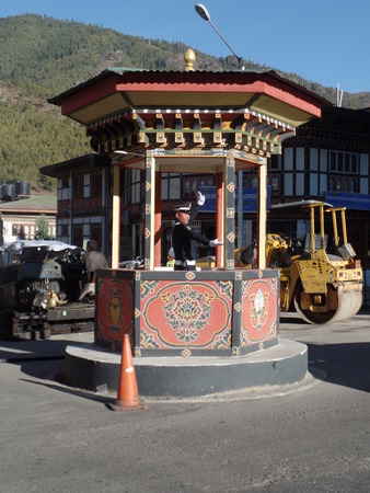 enforcer: The only roundabout with traffic light or enforcer in Bhutan
