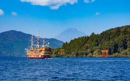 Mount Fuji blurry view from Lake Ashi, Hakone