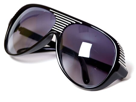 Plastik: black plastik sunglasses closeup isolated