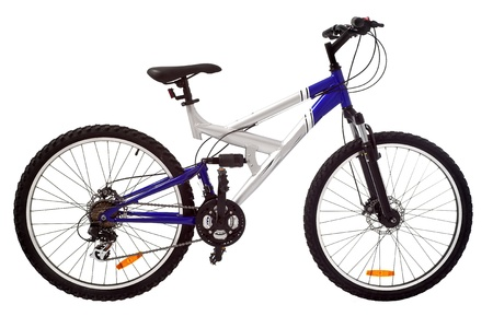 sport silver and blue bicycle isolated photo